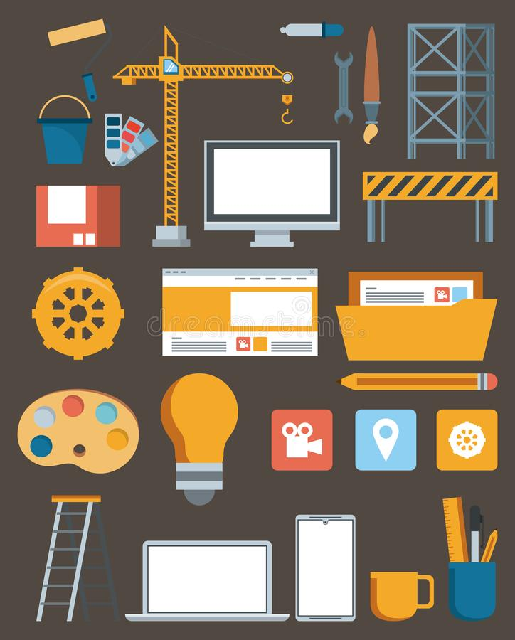 Technology maintenance support website contruction. Set devices with engineer tools vector illustration graphic design vector illustration