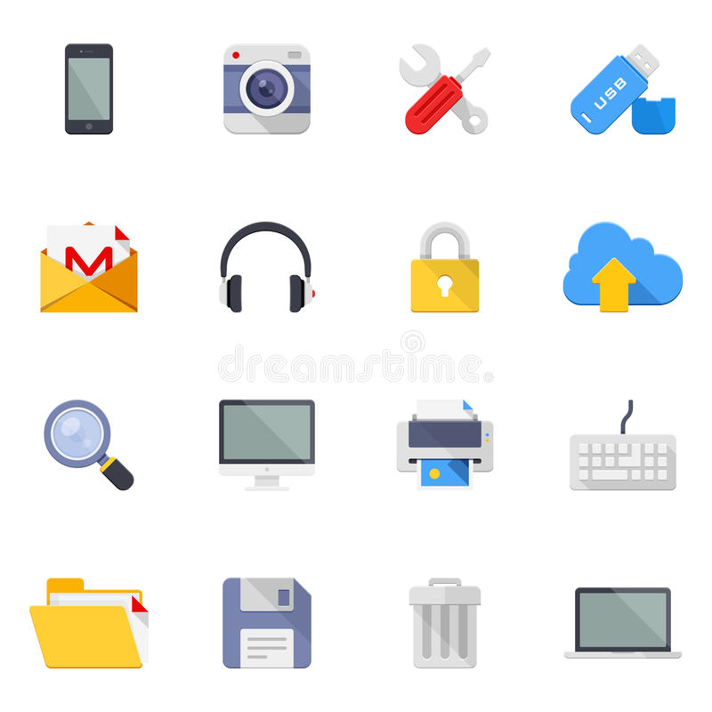 Technology and media icons. Vector set of 16 colorful flat technology and multimedia icons stock illustration