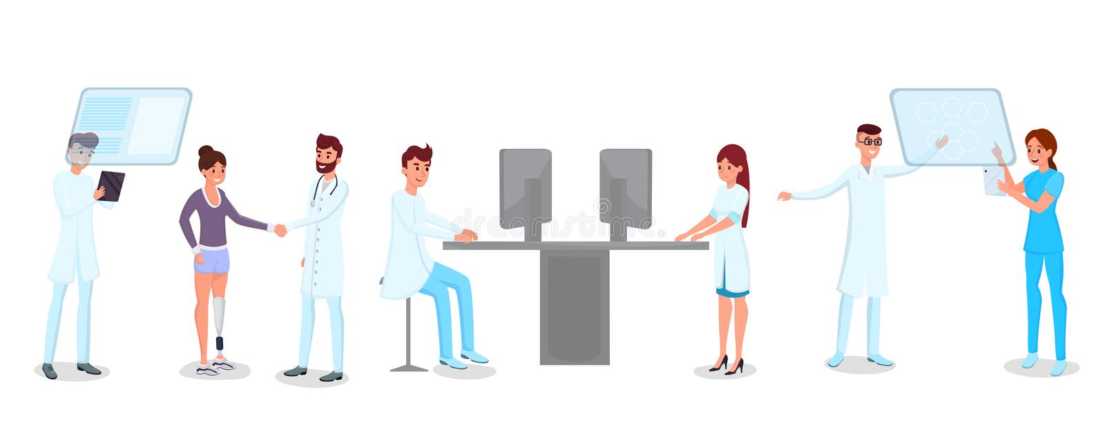 Technology in medicine vector illustrations set. Young doctors, nurses, medics characters. Modern hospital staff working. Technology in medicine vector stock illustration