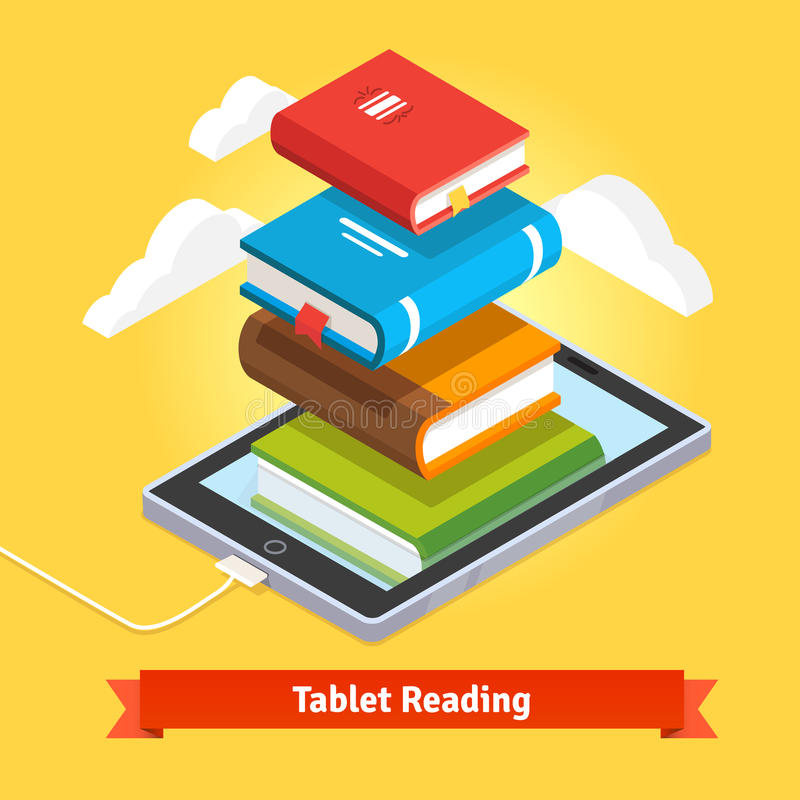 Technology mobile education concept. Tablet computer book reading and modern cloud technology mobile education concept. Flat style vector illustration stock illustration