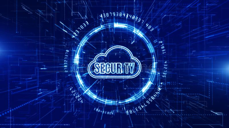 Technology Network and Data Connection, Secure Data Network Digital Cloud Computing, Cyber Security Concept vector illustration