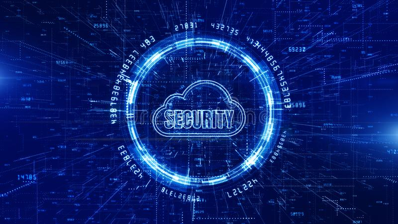 Technology Network and Data Connection, Secure Data Network Digital Cloud Computing, Cyber Security Concept royalty free illustration