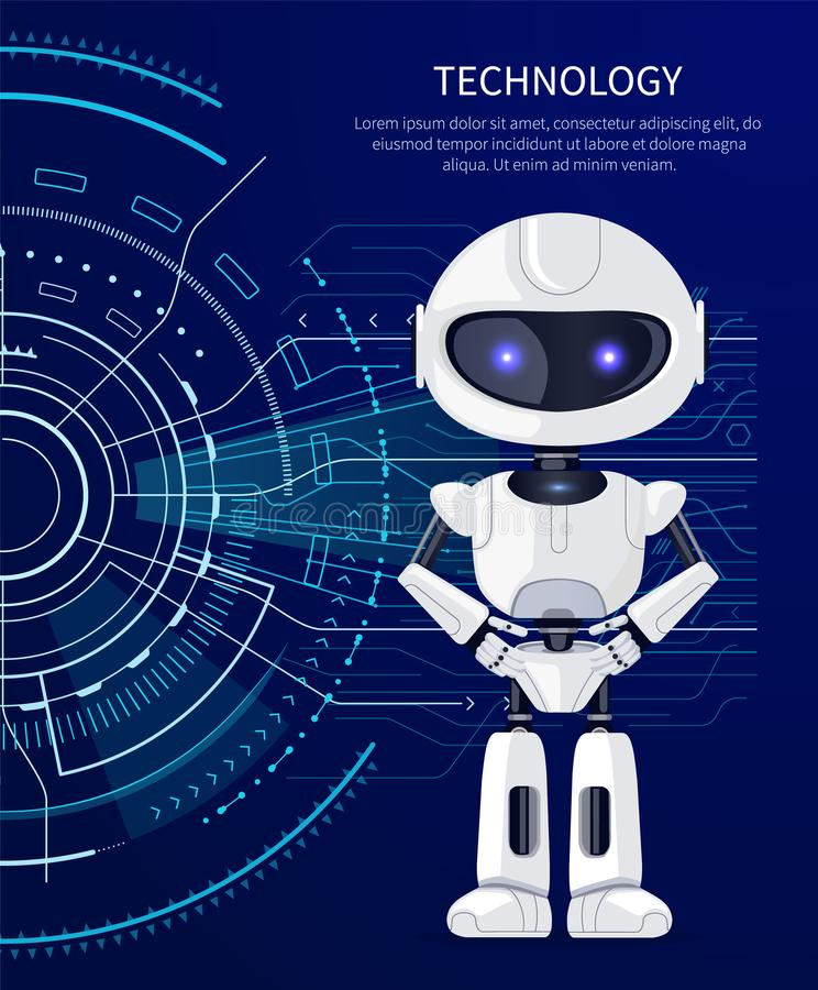 Technology Robot and Interface Vector Illustration. Technology placard with given text sample and headline above, white robot standing calmly and interface with vector illustration