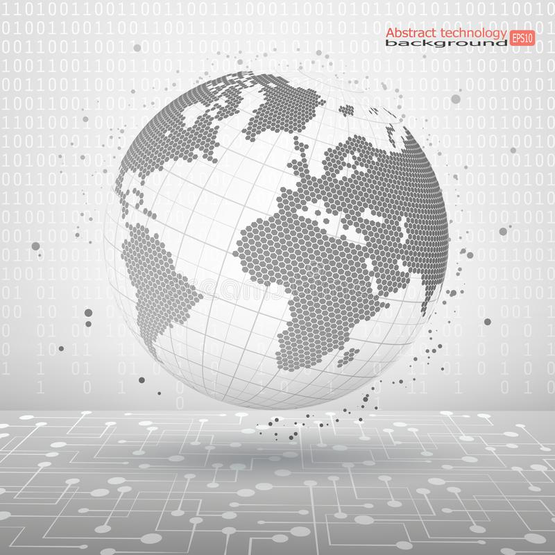 Abstract vector illustration. Technology planet. The symbolic image of a sphere dotted lines and dots. Modern Technology Concept. Technology planet. The stock illustration