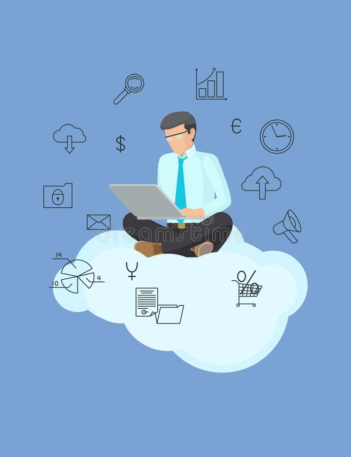 Technology Poster and Busy Man Vector Illustration. Of employee on white cloud with grey laptop, set of business stuff isolated on blue background royalty free illustration