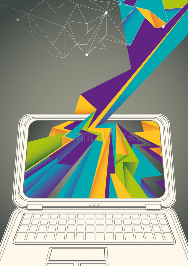Technology poster with laptop. Technology poster with laptop in color royalty free illustration