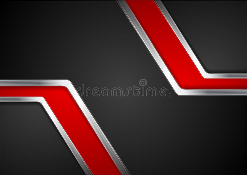 Technology red and black background with metal silver stripes. Vector abstract design stock illustration