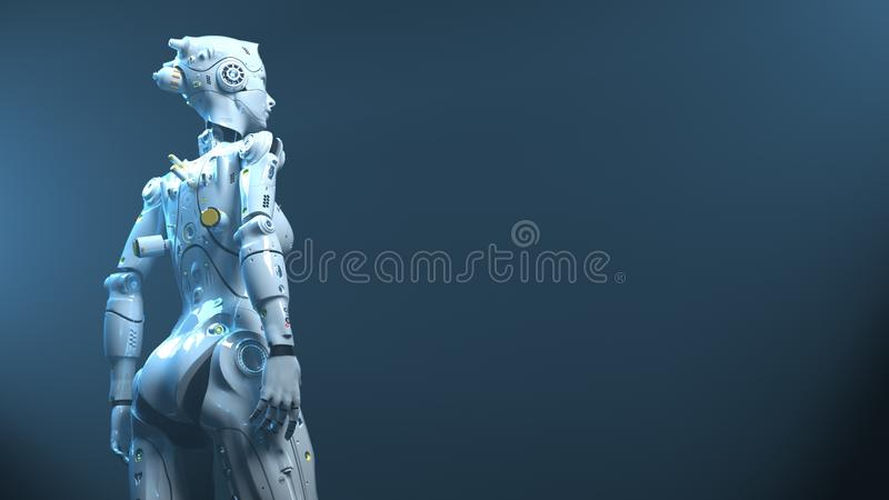 Technology robot sai fi robots. 3d render vector illustration