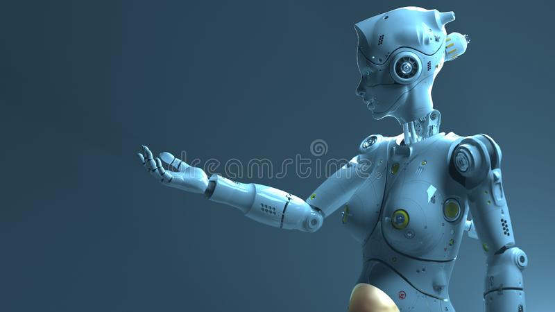 Technology robot sсi fi robots. 3d render royalty free illustration