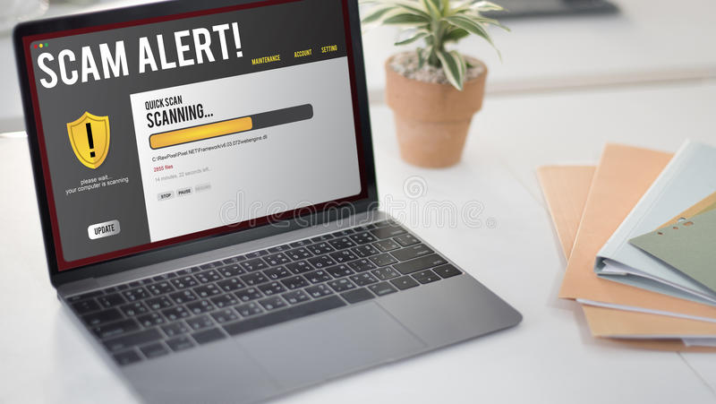 Technology Scam Alert Warning Security Concept stock photo