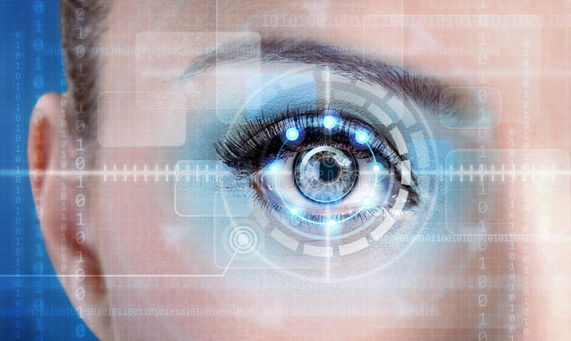 Technology scan female eye for security or identification. Eye with scanner and computer interface stock illustration
