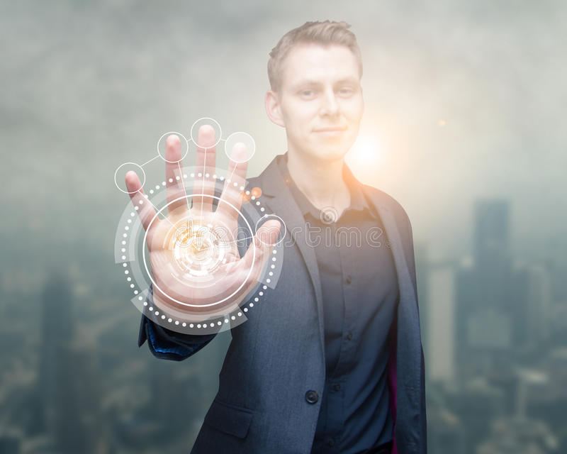 Technology scan man hand royalty free stock images
