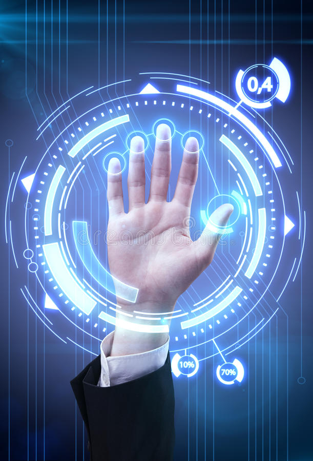 Technology scan man's hand for security. Or identification.Hand with scanner and computer interface stock illustration