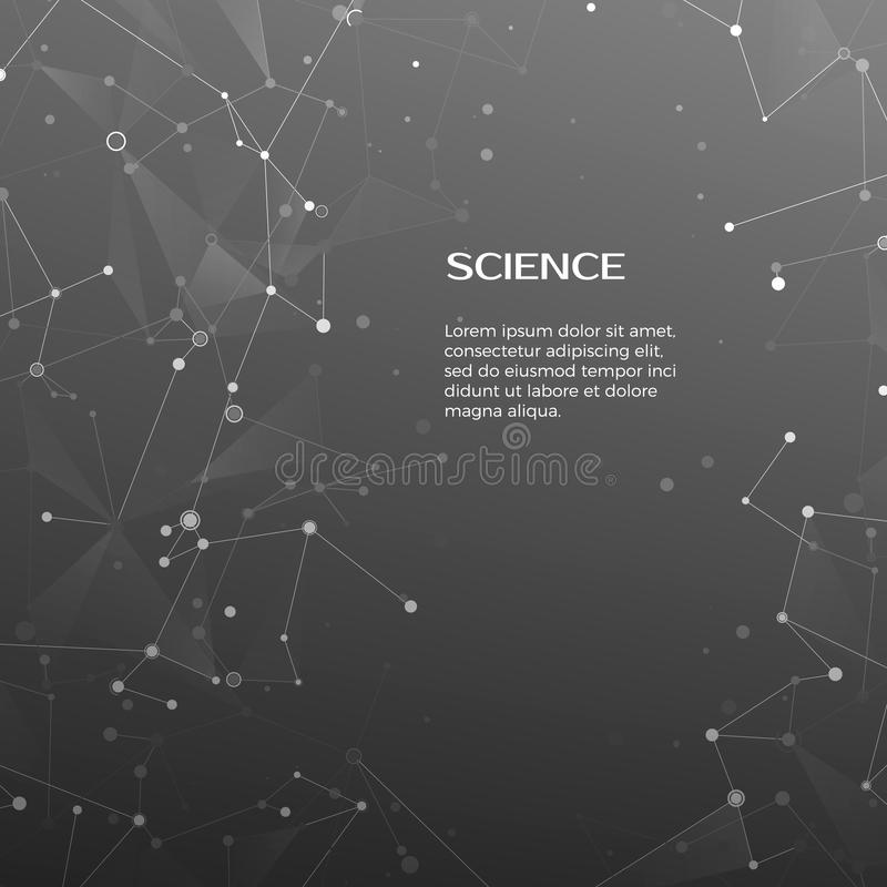 Technology and science background. Polygonal background. Abstract web and nodes. Plexus atom structure. Vector. Illustration royalty free illustration