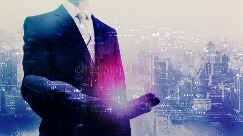 Technology screen with businessman royalty free stock image
