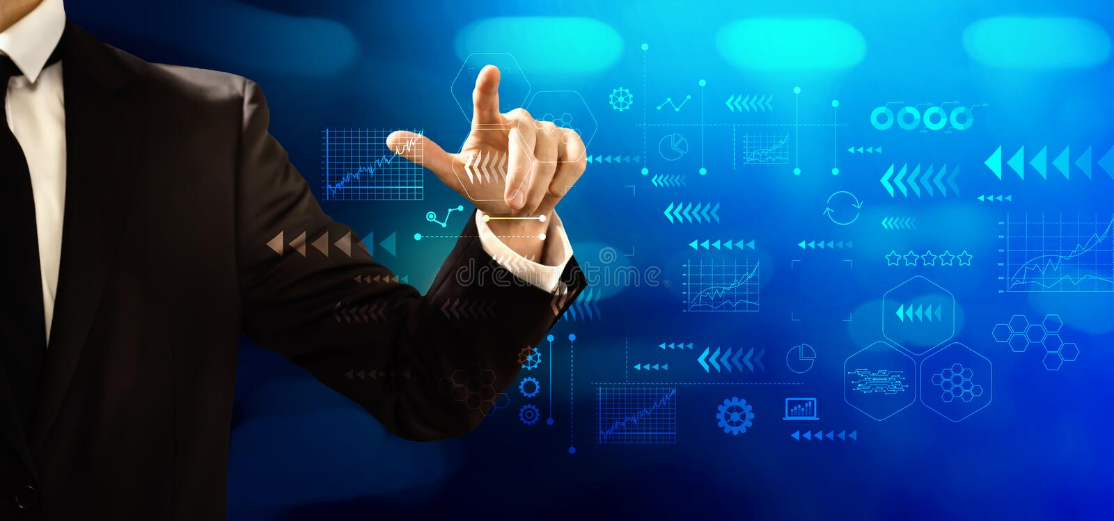 Technology screen with businessman royalty free stock photo