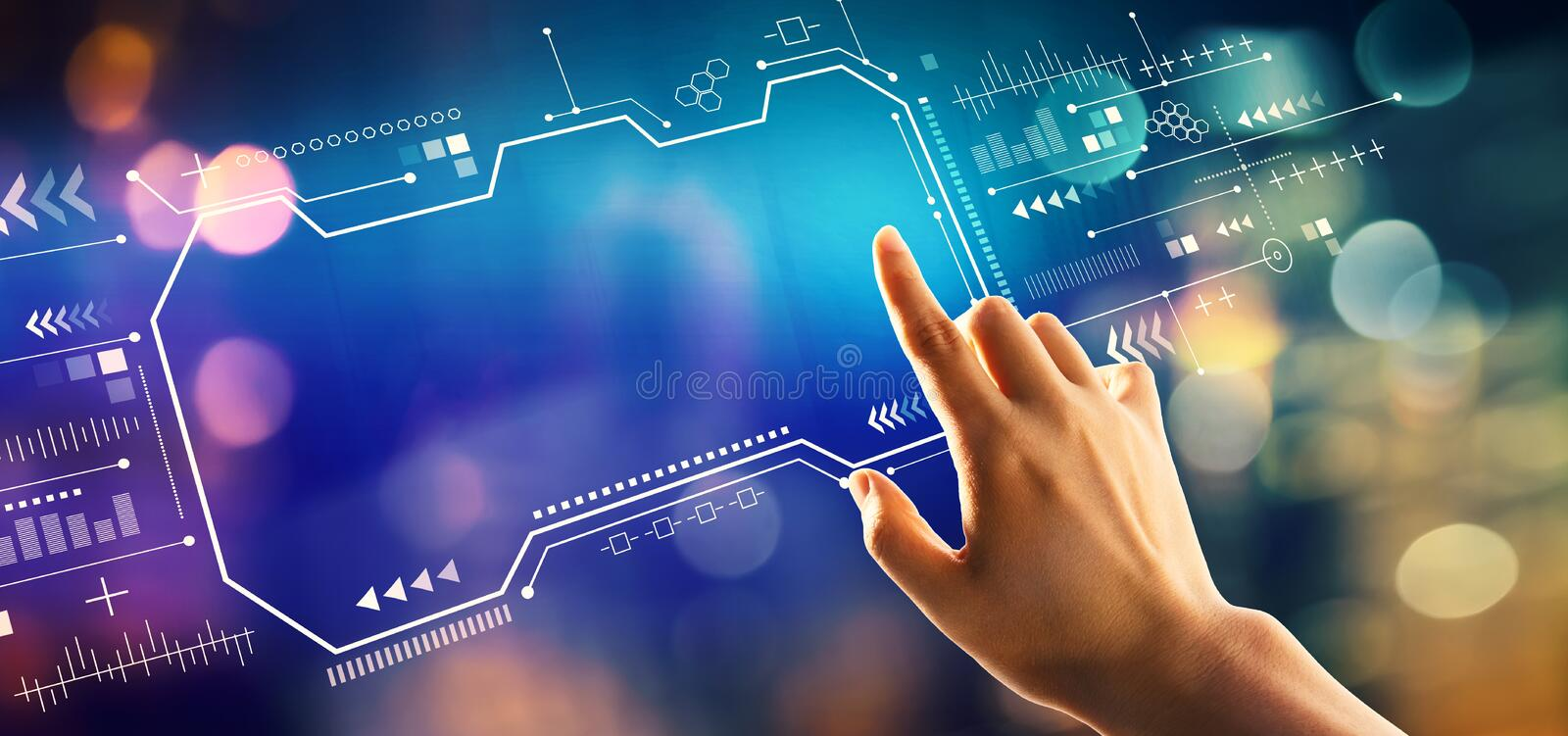 Technology screen with hand pressing a button. On a technology screen royalty free stock photos
