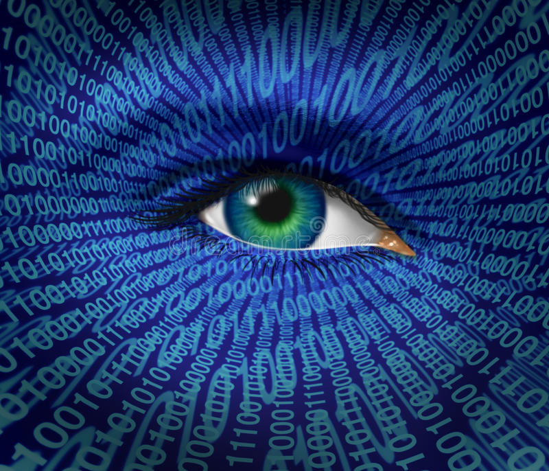 Technology Security. And Internet safety and privacy issues with a human eye and digital binary code as surveillance of hackers or hacking from computer