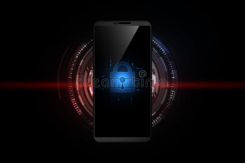 Technology security concept on smartphone, futuristic abstract technology background, vector illustration. Eps10 royalty free illustration