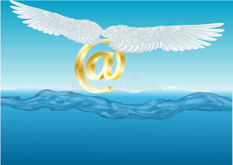 Technology. at sign over the water. Technology. at sign with wings over the water royalty free illustration