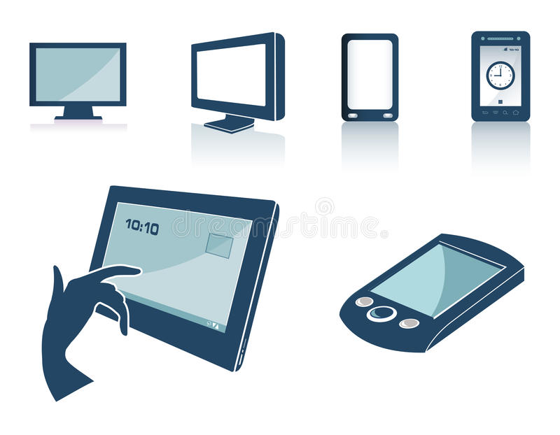 Technology silhouettes. Cartoon silhouette of technology silhouettes stock illustration