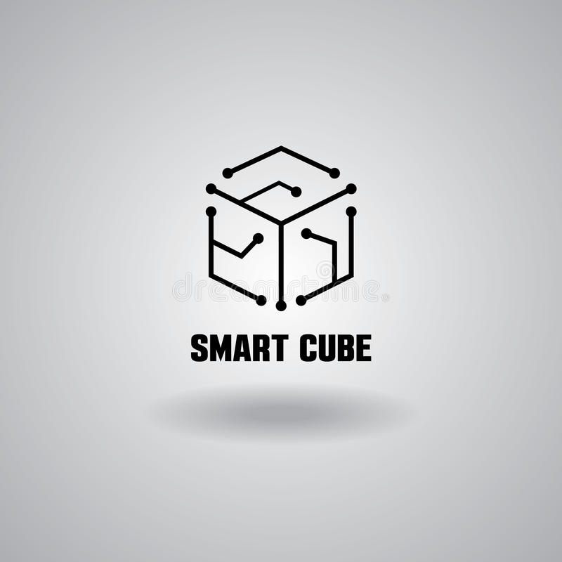 Technology Smart Cube logo, computer and data related business, hi-tech and innovative royalty free illustration