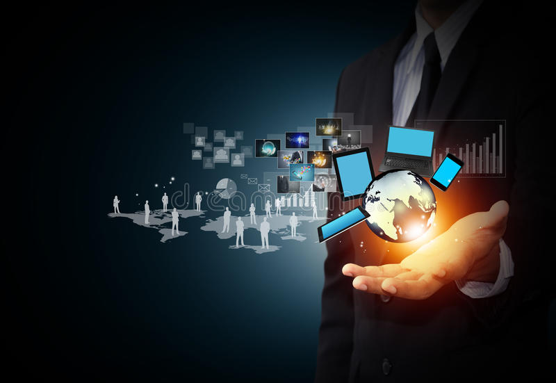 Technology and social media. Modern wireless technology and social media