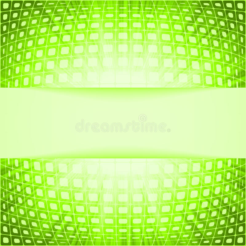 Technology squares with green flare burst
