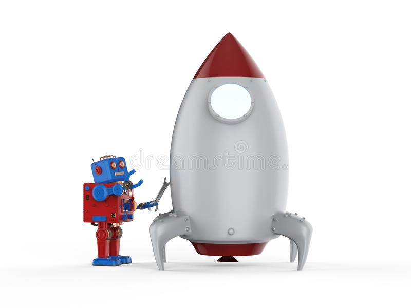 Technology start up concept. With 3d rendering tintoy robot with space shuttle royalty free illustration
