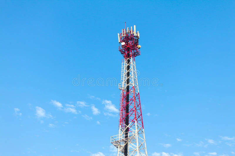 Technology telecommunication tower antennas wireless technology. With blue sky royalty free stock photography