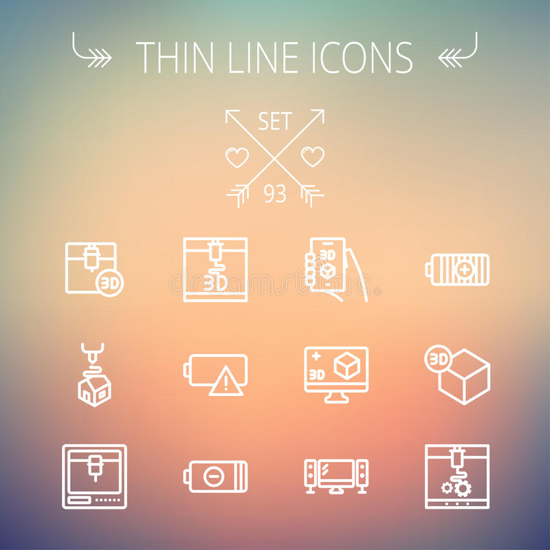 Technology thin line icon set. For web and mobile. Set includes -3D printer, 3d box, tv with speakers, battery. Modern minimalistic flat design. Vector white vector illustration