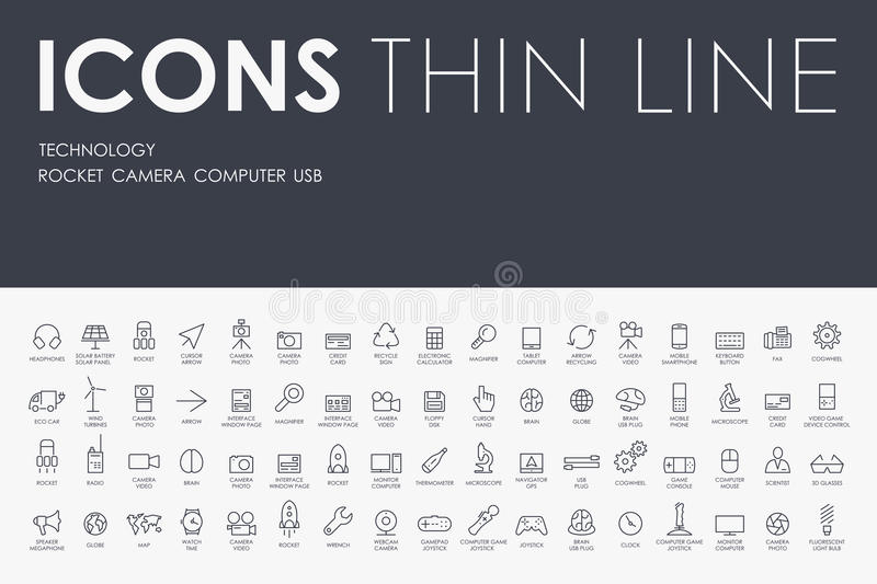 Technology Thin Line Icons stock photography