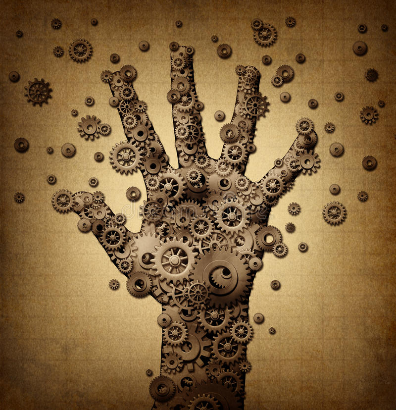Technology touch. Concept and robotics or robot symbol as a group of mechanical gears and gog machine wheels shaped as a human hand as a metaphor for bionic vector illustration