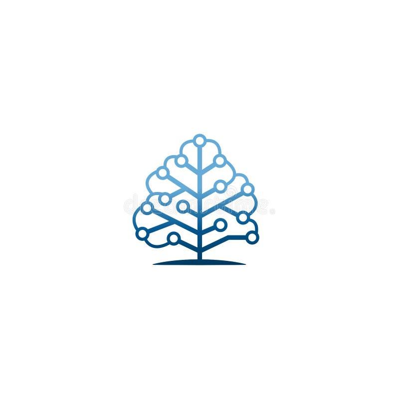 Technology tree logo idea microcircuit shape, concept communication engineering technology emblem. Circuit board icon. Technology stock illustration