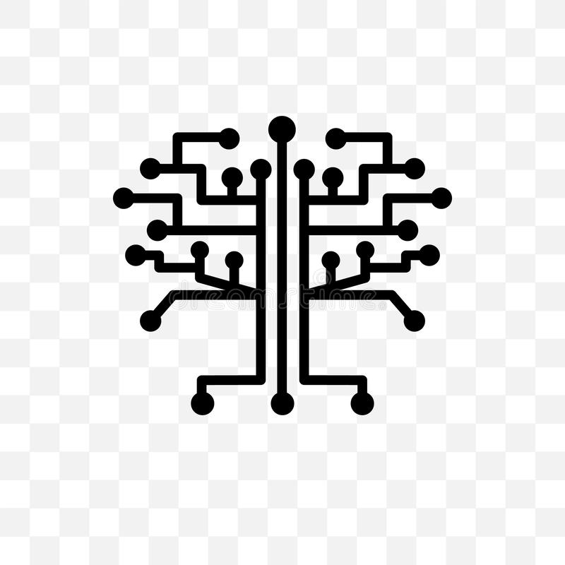 technology Tree vector linear icon isolated on transparent background, technology Tree transparency concept can be used for web an stock illustration