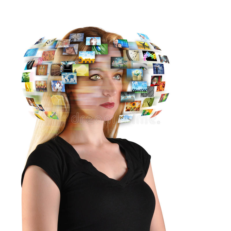 Free Technology TV Woman With Images Stock Photography - 23013542