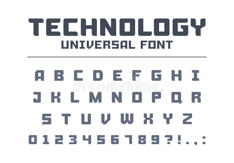 Technology universal poster font type. Strong, construction, engineering, techno alphabet. Letters, numbers typeset for military, industrial logo design royalty free illustration