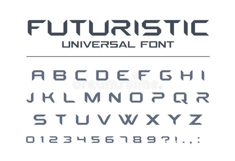Technology universal vector font. Geometric, sport, futuristic, future techno alphabet. Futuristic universal font. Geometric, future techno alphabet. Letters stock illustration
