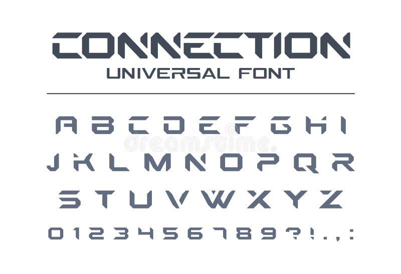 Technology universal vector font. Geometric, sport, futuristic, future techno alphabet. Technology connect universal font. Geometric, aggressive sport royalty free illustration