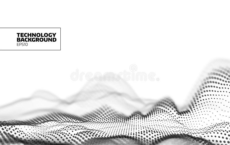 Technology vector background. Data flow. Particles grid. Cyberspace landscape. Banner vector illustration