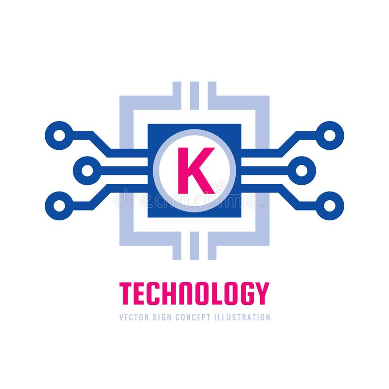 Technology - vector business logo template concept illustration. Letter K creative sign. Blockchain network symbol. Graphic design. Element stock illustration