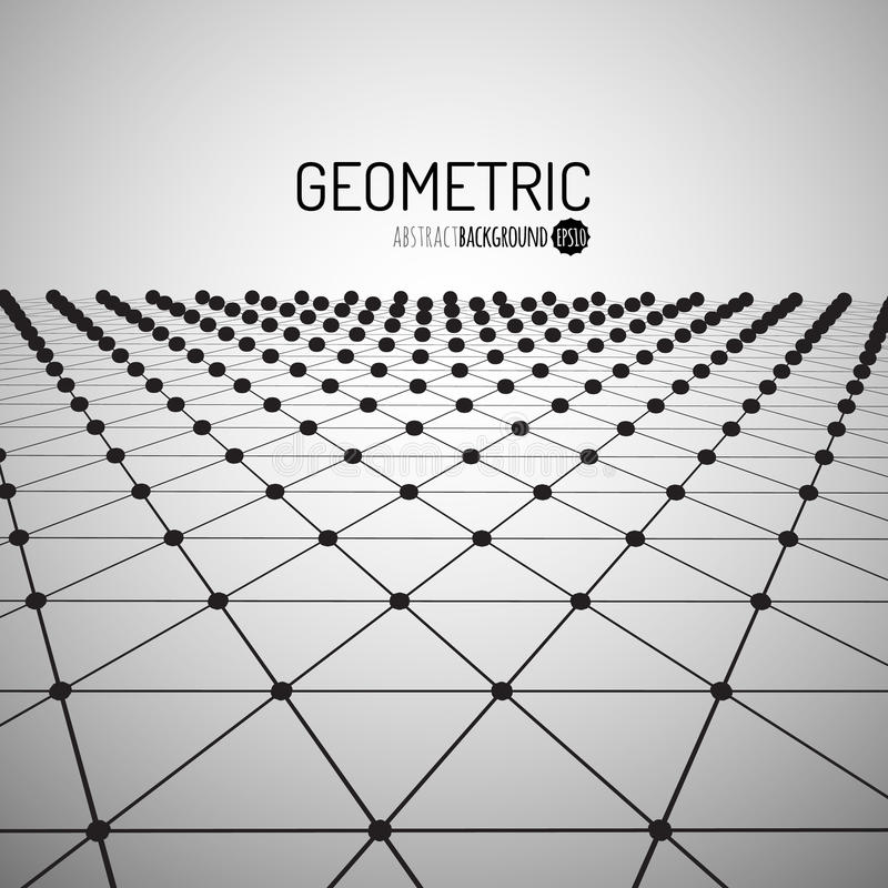 Technology vector geometric background. Futuristic concept. Connected triangles with dots. Vector illustration royalty free illustration