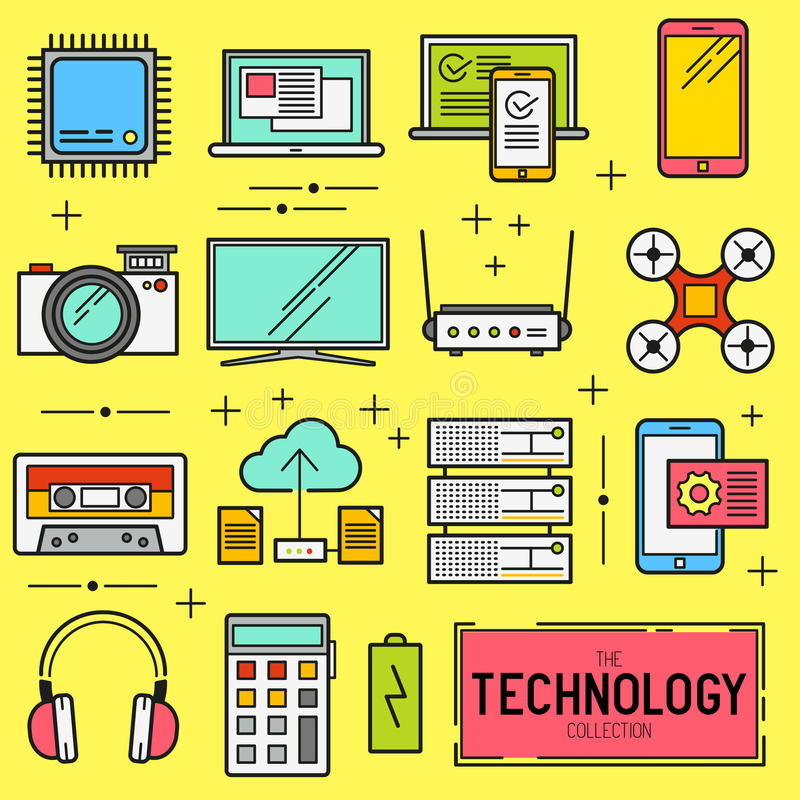 Technology Vector Icon Set. A collection of modern technology items including a CPU, drone, TV and mobile devices. Vector ilustration royalty free illustration