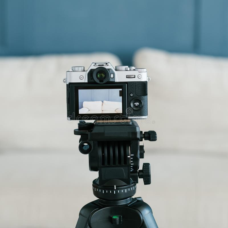 Technology video camera tripod equipment footage royalty free stock image