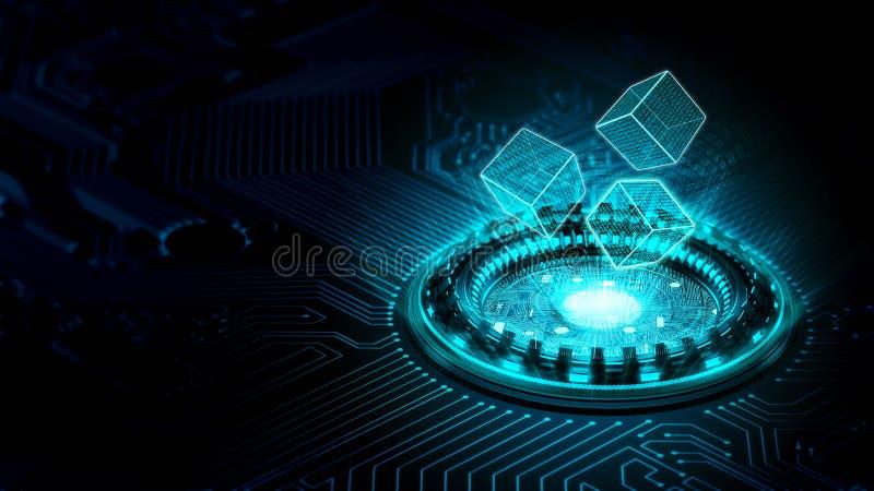 Internet data processing concept. Technology visualization of internet data processing in virtual internet world vector illustration