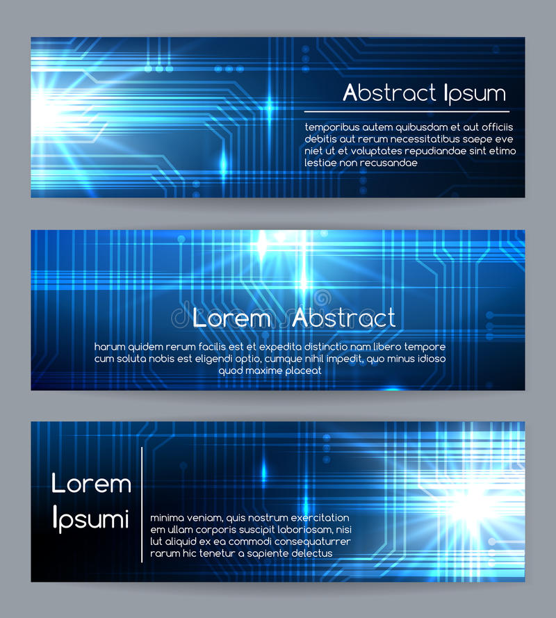 Technology web banners or abstract website tech digital and medical banner templates vector illustration vector illustration