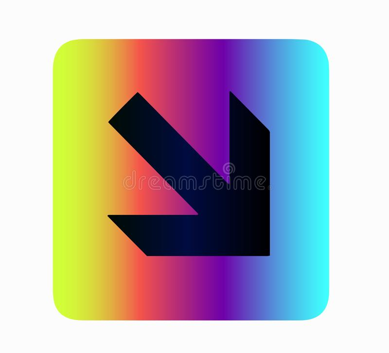 Neon button blue arrow for web site. IT and technology, web site design,neon pointer icon, guide, arrows isolated vector illustration