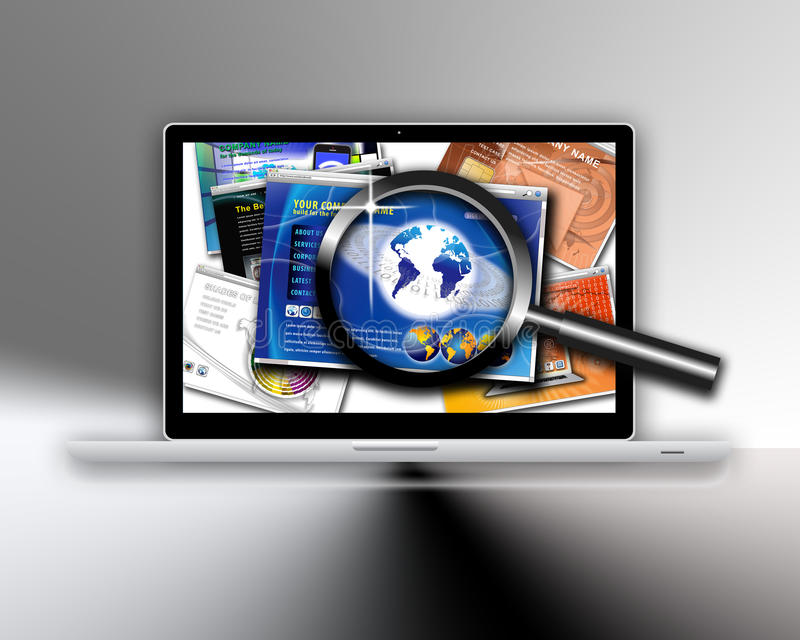 Technology website design search royalty free illustration