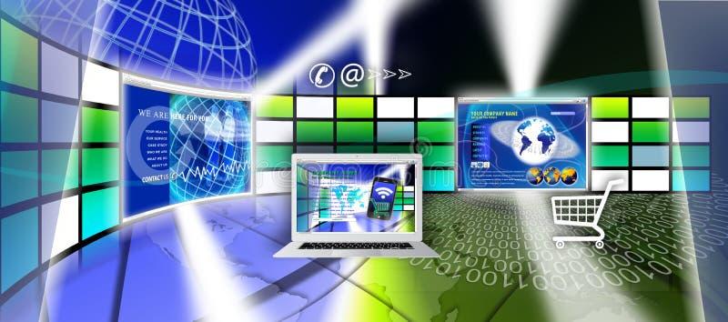 Technology website page design stock illustration