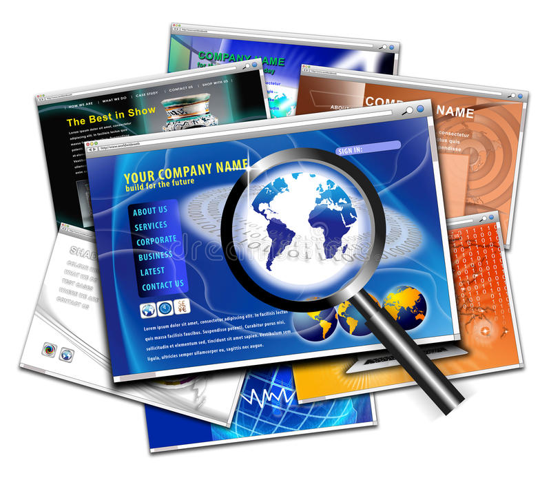 Technology website page design search royalty free illustration